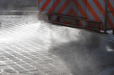 foreground of a cleaning machine for water spray photo
