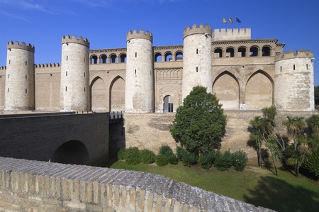 view of the Aljaferia palace in Saragossa city, Aragon, Spain Stock Photo - 12080230