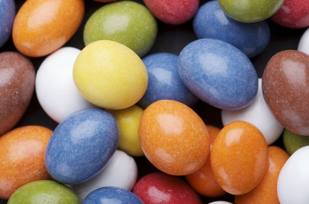 unwholesome: group of chocolate and caramel candies of various colors Stock Photo