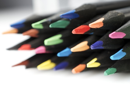 forefront of a group of colored pencils photo