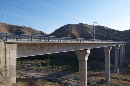 bridge construction: view of a huge concrete  viaduct for high-speed train, Spain Stock Photo