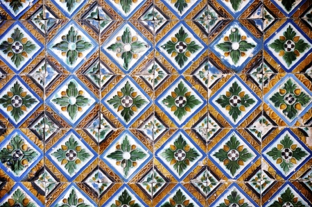 spanish tile: closeup of a ceramic tile in Pilates palace, Seville, Andalucia, Spain