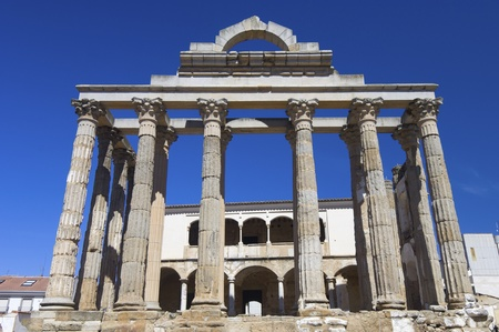 columns  of the Roman temple of Diana, Merida, Badajoz, Extremadura, Spain photo