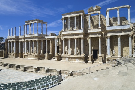Roman theater in Merida, the theater, today, is used for theatrical performances, Merida, Badajoz, Extremadura, Spain