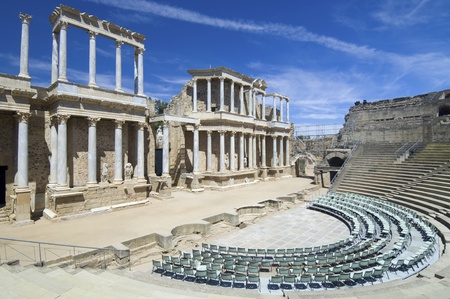 Roman theater in Merida, the theater, today, is used for theatrical performances, Merida, Badajoz, Extremadura, Spain 報道画像