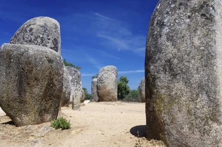 monolith: Almendres Cromlech view near Evora, Alentejo, Portugal.