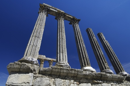 Ruins  of the Roman temple of Diana in Evora, Portugal Stock Photo