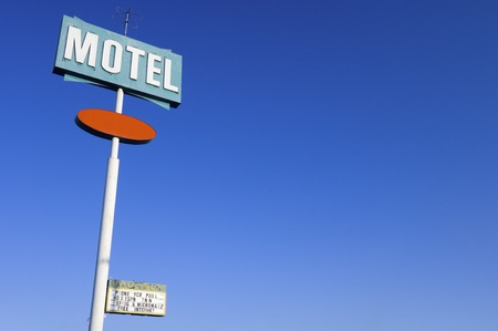 poster green motel with clear and blue sky photo