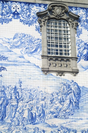 View of traditional blue facade in Port, Portugal 写真素材