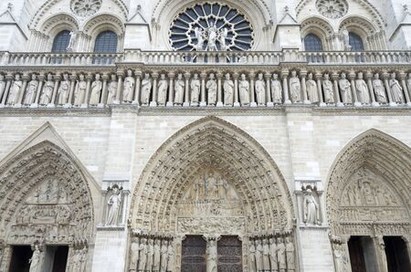 foreground of  the main facade of the cathedral of notre dame,  paris, france photo