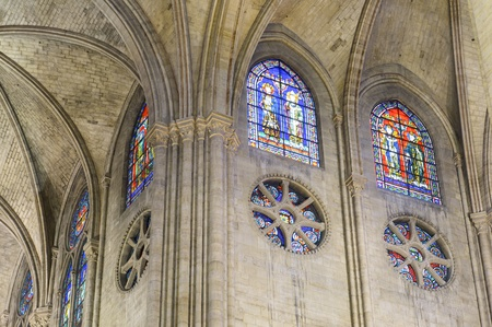Windows in the cathedral of Notre Dame in Paris, France