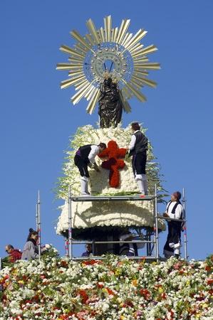 Zaragoza, Spain - October 12, 2006: Offering to the Virgen del Pilar,  massive event held in Zaragoza in celebration of Spanishness Day  and the discovery of America