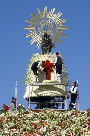 Zaragoza, Spain - October 12, 2006: Offering to the Virgen del Pilar,  massive event held in Zaragoza in celebration of Spanishness Day  and the discovery of America