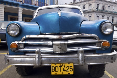 Havana, Cuba - January 29, 2007: view of a blue car parked in the center of the city of havana, with decades old, these vehicles are still used.