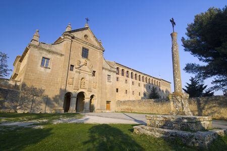 exterior view of the sanctuary Valentunana, Sos del Rey Catolico, zaragoza, Aragon, Spain