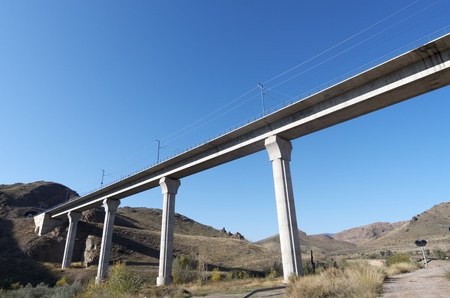 view of a huge concrete  viaduct for high-speed train, Spain Stock Photo - 12295285