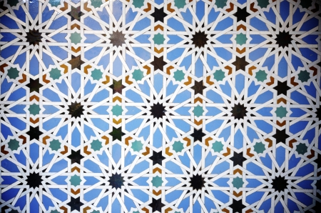 closeup of a ceramic tile in Reales Alcazares, Seville, Andalucia, Spain photo