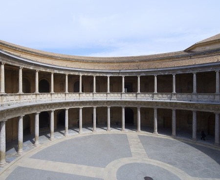 carlos: view of the  circular courtyard in the palace of Carlos V, Alhambra, Granada, Andalucia, Spain Editorial