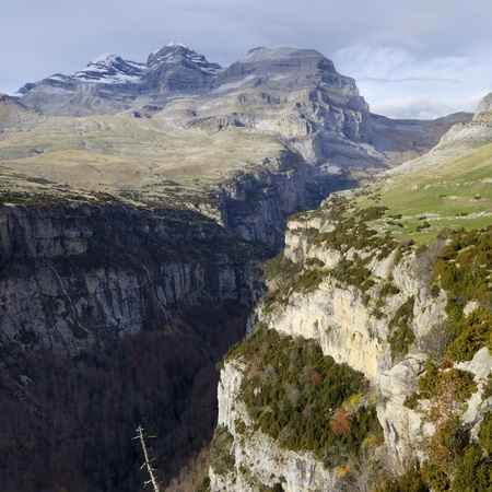 View of the massif of Monte Perdido and Anisclo Valley in Ordesa National Park,Pyrenees, Huesca, Aragon, Spain photo