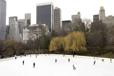 New York, United States - December 30, 2007: people skating during the Christmas holidays in Central Park