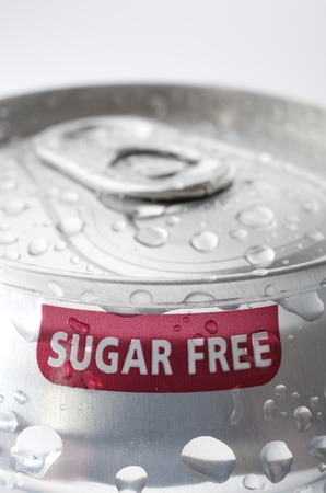 view of an aluminum can of sugar free soda 写真素材