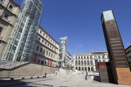 Madrid, Spain - June 7, 2008: exterior view of the Reina Sofia Museum. This museum  is dedicated to the exhibition of modern and contemporary art  and is one of the most visited in the city of Madrid