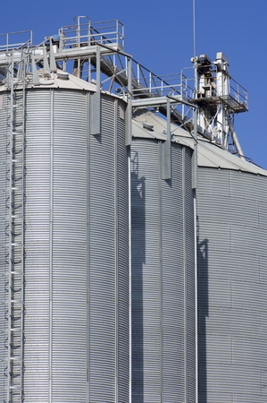 view of a group of metal silos for grain storage Stock Photo - 12683751