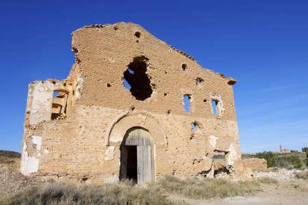 demolished house: Demolished house in a bombing during the Spanish Civil War, Belchite, Saragossa, Aragon, Spain Stock Photo