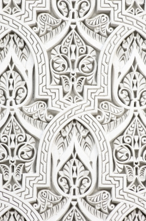 closeup of a wall of white plaster Arabic photo