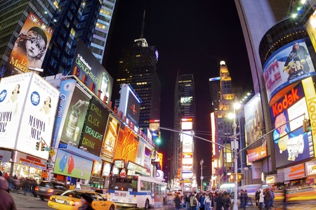 frequented: New York, Usa - Jan 2, 2008: Times Square with its bustle and its huge illuminated advertising signs is one of the most frequented places in New York.