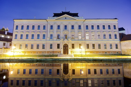 budejovice: View at dusk of a historic building in the old town of Ceske Budejovice, Czech Republic