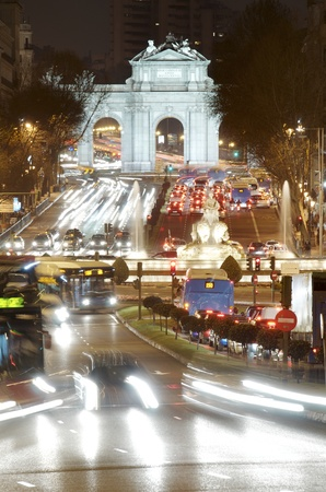 night view of Puerta de Alcala and fountain of Cibeles, Madrid, Spain