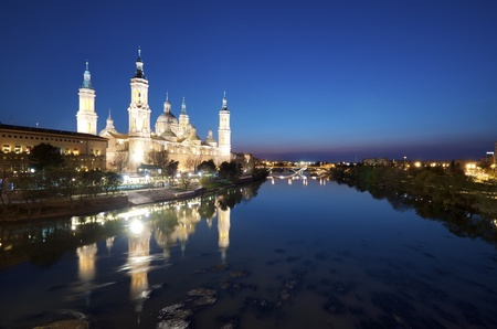 View of the  basilica of the Virgen del Pilar and Ebro river, Zaragoza, Aragon, Spain Stock Photo - 13118149