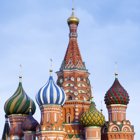 View of the  Orthodox Cathedral of St. Basil in Red Square, Moscow, Russia photo