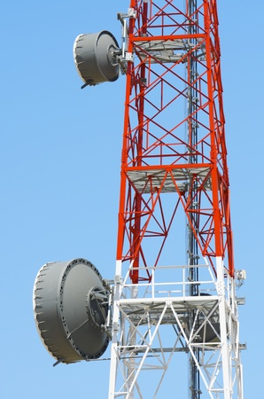 closeup of  a telecommunications tower with a clear blue sky Stock Photo - 13204850