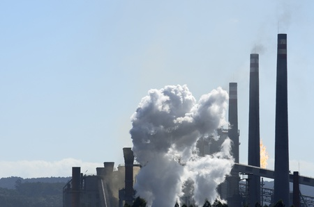 smoke in a factory dedicated to the manufacture of steel, Avile & Igrave Asturias, Spain