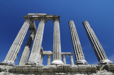 Ruins  of the Roman temple of Diana in Evora, Portugal photo