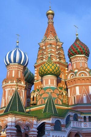 View of the  Orthodox Cathedral of St. Basil in Red Square in Moscow, Russia photo