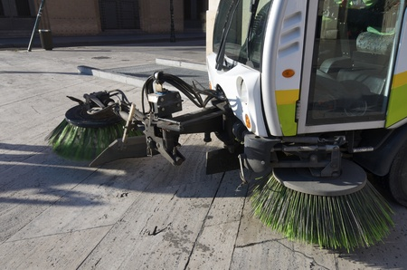 forefront of a machine brush  cleaner city Stock Photo - 13504208