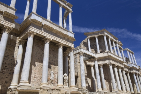 Roman theater in Merida, the theater, today, is used for theatrical performances, Merida, Badajoz, Extremadura, Spain photo