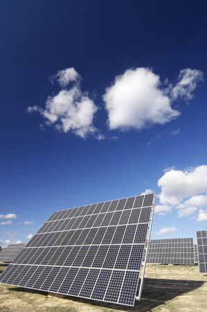 group of solar panels for production of renewable electrical energy photo