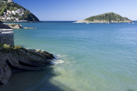 waves in Ondarreta beach, La Concha Bay, San Sebastian, Guipuzcoa, Basque Country, Spain Stock Photo - 13746854