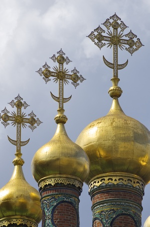 deposition: forefront of the domes of The Church of the Deposition of the Robe, Kremlin, Moscow, Russia