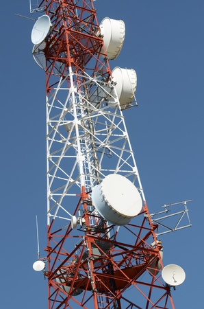 bottom view of  a telecommunications tower with a clear blue sky, La Muela, Saragosa, Aragon, Spain photo
