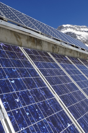 photovoltaic panels for electric production in the mountain, Anso valley, Pyrenees, Huesca, Aragon, Spain photo