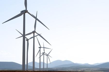 wind turbines: group of wind turbines for renewable electric energy production, Fuendejalon, Zaragoza, Aragon, Spain
