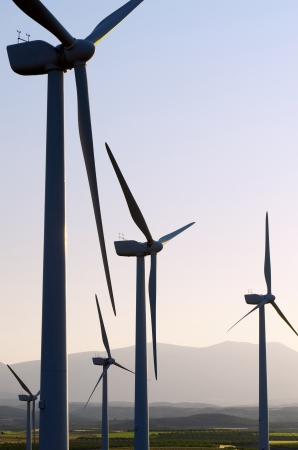 group of wind turbines for renewable electric energy production, Fuendejalon, Zaragoza, Aragon, Spain