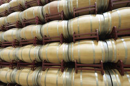 stacked wine barrels to ferment the wine, La Rioja, Spain photo