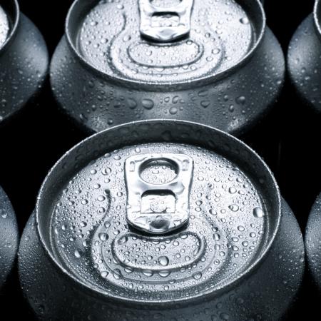 ソーダのアルミ缶のグループ 写真素材