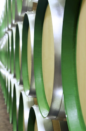 stacked wine barrels to ferment the wine, La Rioja, Spain photo